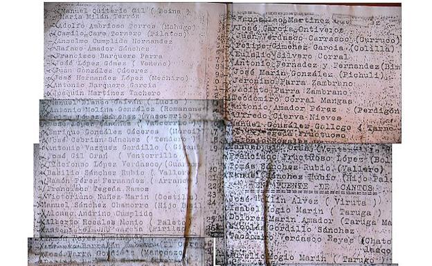 La hoja cuarteada con la lista de sus amigos y vecinos fusilados que El Hombrecino llevó consigo durante casi 40 años.