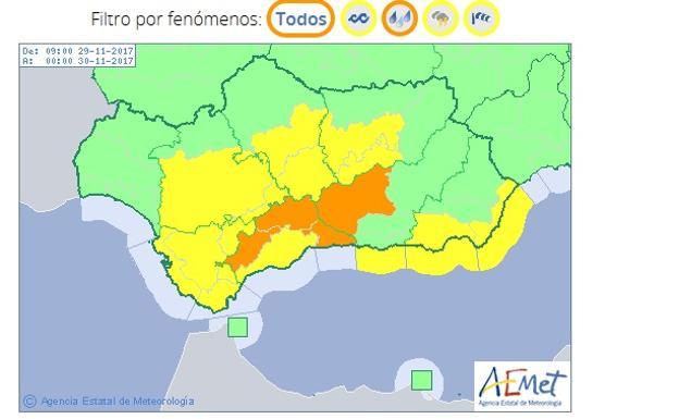 Aemet Eleva A Naranja El Aviso En Málaga Para Hoy Por Fuertes Lluvias Diario Sur