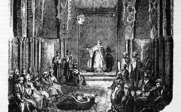 Elección de Aben Humeya como rey de los moriscos en la Rebelión de las Alpujarras, según un grabado de la novela 'Los Monfíes de las Alpujarras' (1859), de Manuel Fernández y González./SUR