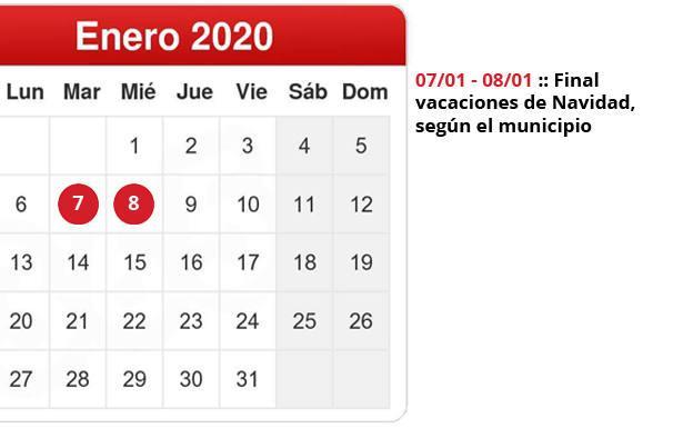 Calendario Diario 2020.Calendario Escolar La Vuelta Al Cole Las Vacaciones De