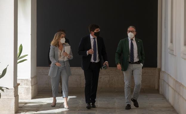 La consejera de Ordenación del Territorio, Marifran Carazo, junto al vicepresidente Juan Marín y el consejero de la Presidencia, Elías Bendodo./ep