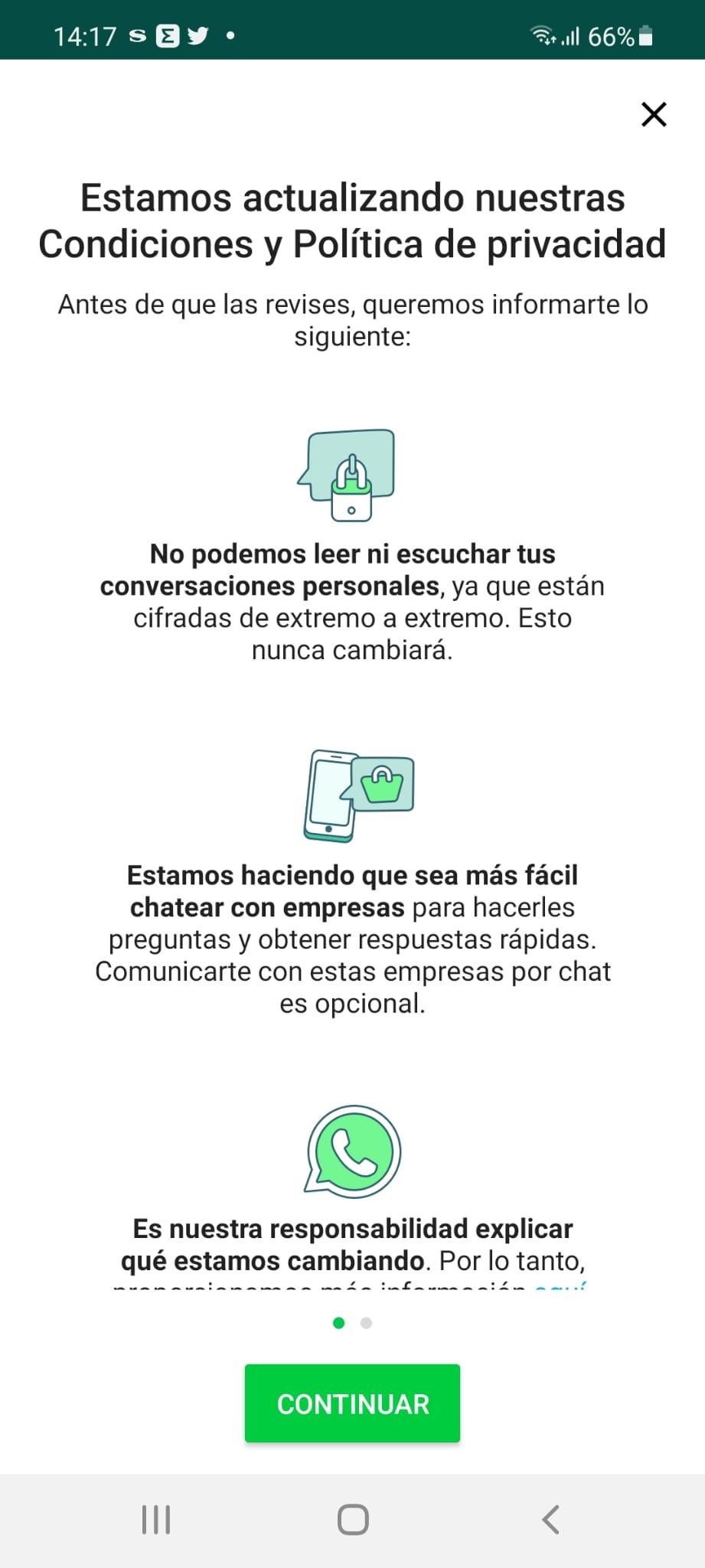 Mensaje que reciben los usuarios de WhatsApp para aceptar las nuevas condiciones de la aplicación.