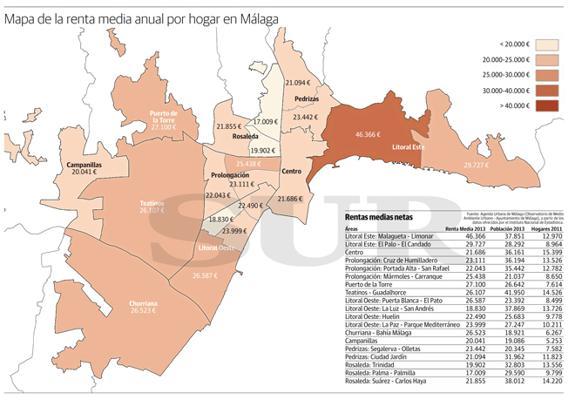 Mapa De Malaga Capital Por Barrios.Dime Donde Vives Y Te Dire Cuanto Ganas Diario Sur